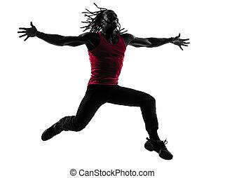 hombre africano, ejercitar, condición física, zumba, bailando, silueta