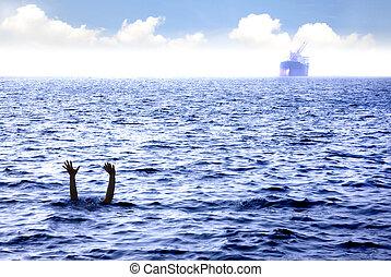 hombre, ahogo, en, el, mar, y, ondulación, mano, para, ayuda