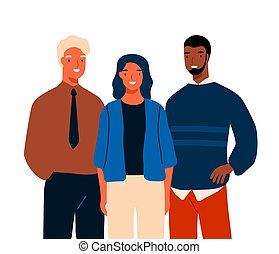 hombre, aislado, multinacional, mujer, white., posición, ...