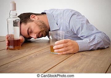 hombre, alcohol, adicto, sentimiento, malo