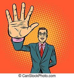 hombre, alto-cinco, gesto