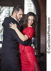 hombre, amaestrado, mujer, tango, restaurante