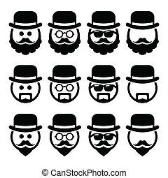 hombre, anteojos, barba, sombrero