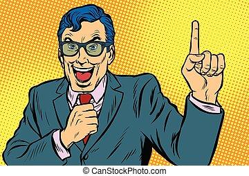 hombre, arriba, señalar el dedo