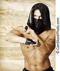 hombre, asesino, con, sexy, torso, en, máscara