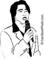 hombre, asiático, micrófono, canto