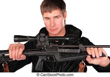 hombre, asideros, joven, arma de fuego, francotirador