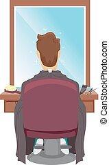 hombre, asiento, peluqueros, corte, ilustración
