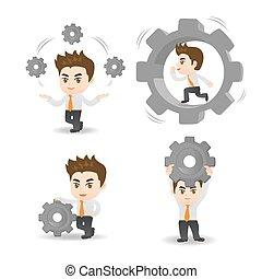 hombre, asimiento, engranaje, empresa / negocio, caricatura