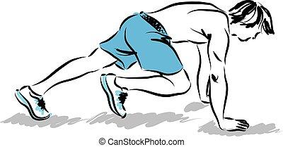 hombre, atleta, extensión, ejercicios, il