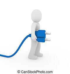 hombre azul, enchufe, 3d
