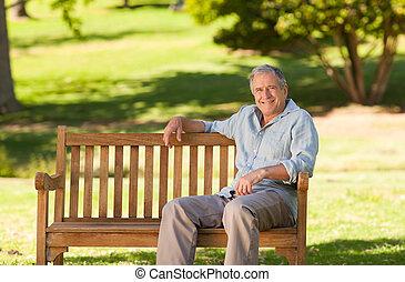 hombre, banco, anciano, Sentado