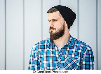 hombre, barbudo