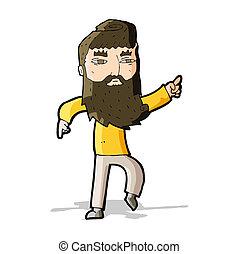 hombre barbudo, manera, señalar, caricatura