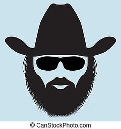 hombre, barbudo, silueta