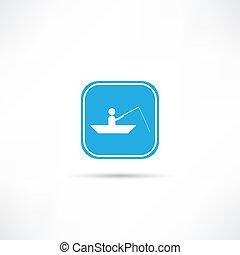 hombre, barco, icono