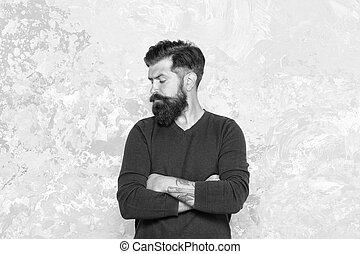 hombre, beard., hipster., moda, puntas, concept., macho, guy., hipster, crecer, peluquero, barbudo, mirar bueno, mantener, mustache., facial, hair., appearance., tattooed, elegante, manhood., barba