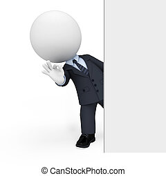 hombre, blanco, 3d, empresarios