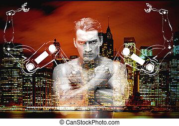 hombre, brazos robóticos, hombre de negocios