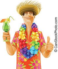 hombre, cóctel, hawai, guirnalda, sombrero