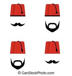 hombre, cabeza, con, fez, conjunto, color, ilustración