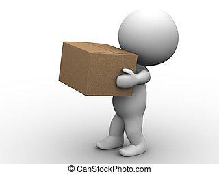hombre, caja, 3d, proceso de llevar