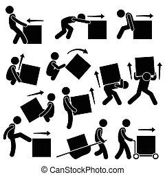 hombre, caja móvil, acciones, posturas