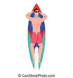 hombre, calzoncillos, abajo, tabla de surf, acostado, ...