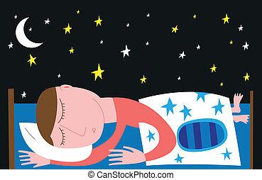 hombre, cama, soñar