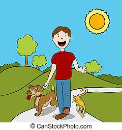 hombre caminar, con, el suyo, mascotas, en el parque