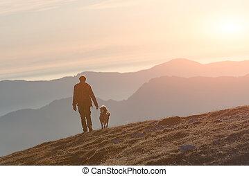 hombre caminar, con, el suyo, perro, en las montañas