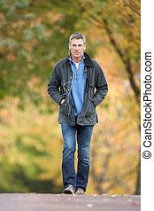 hombre caminar, por, otoño, parque, escuchar, a, jugador mp3