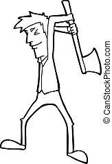 hombre, caricatura, balanceo, hacha