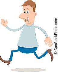 hombre, caricatura, ilustración, excitado