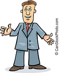 hombre, caricatura, traje