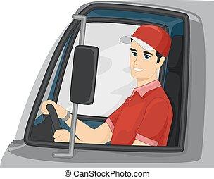hombre, carro de entrega, conductor