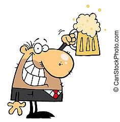 hombre, celebrar, un, pinta de cerveza