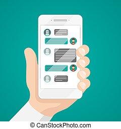 hombre, charlar, con, charla, bot, en, smartphone, vector,...