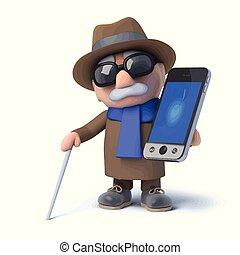hombre ciego, smartphone, tenencia, 3d