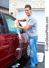 hombre, coche, lavado
