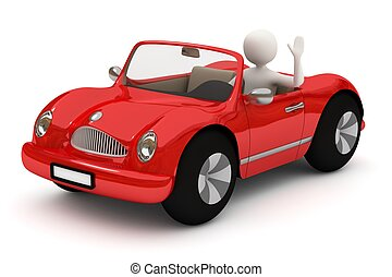 hombre, coche, yendo, rojo, 3d