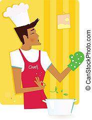 hombre, cocina