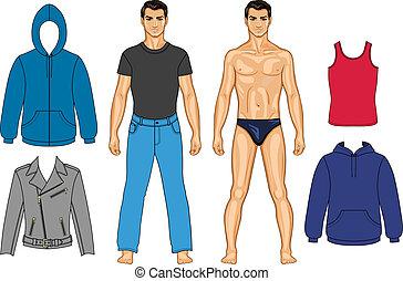 hombre, coloreado, colección, ropa