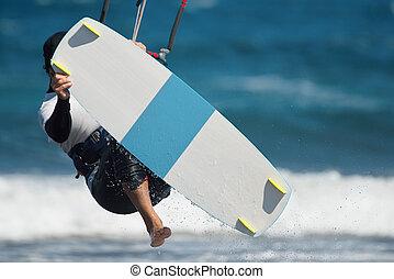 hombre, cometa, salto, surf
