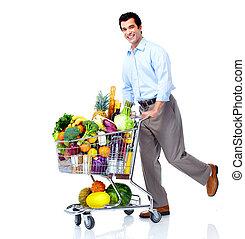 hombre, compras, cart., feliz