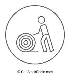 hombre, con, alambre carrete, línea, icon.