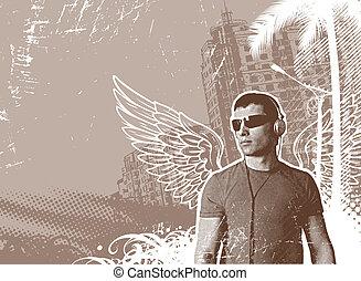 hombre, con, alas, y, auriculares, en, un, paisaje urbano,...