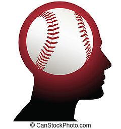hombre, con, beisball, deportes, en, el, cerebro