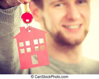 hombre, con, casa, pendant.