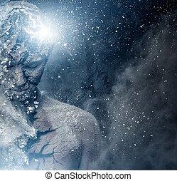 hombre, con, conceptual, espiritual, arte de cuerpo